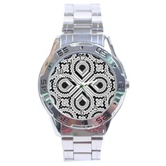 Pattern Tile Seamless Design Stainless Steel Analogue Watch