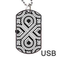 Pattern Tile Seamless Design Dog Tag USB Flash (One Side)