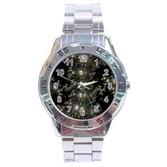 Fractal Math Geometry Backdrop Stainless Steel Analogue Watch