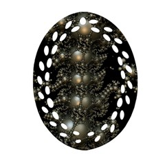 Fractal Math Geometry Backdrop Oval Filigree Ornament (two Sides)