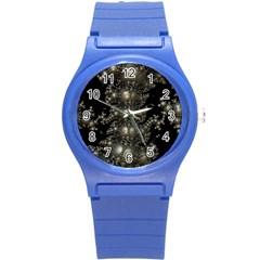 Fractal Math Geometry Backdrop Round Plastic Sport Watch (s)