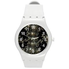 Fractal Math Geometry Backdrop Round Plastic Sport Watch (m)