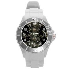 Fractal Math Geometry Backdrop Round Plastic Sport Watch (l)