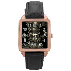 Fractal Math Geometry Backdrop Rose Gold Leather Watch
