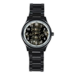 Fractal Math Geometry Backdrop Stainless Steel Round Watch