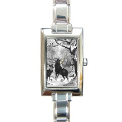 Stag Deer Forest Winter Christmas Rectangle Italian Charm Watch