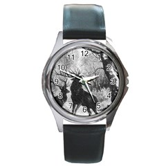 Stag Deer Forest Winter Christmas Round Metal Watch