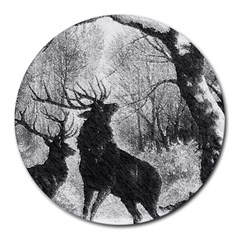Stag Deer Forest Winter Christmas Round Mousepads