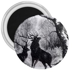 Stag Deer Forest Winter Christmas 3  Magnets