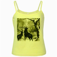 Stag Deer Forest Winter Christmas Yellow Spaghetti Tank