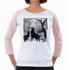 Stag Deer Forest Winter Christmas Girly Raglans