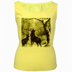 Stag Deer Forest Winter Christmas Women s Yellow Tank Top