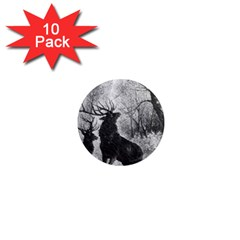 Stag Deer Forest Winter Christmas 1  Mini Magnet (10 pack)