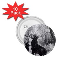 Stag Deer Forest Winter Christmas 1 75  Buttons (10 Pack)