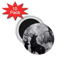 Stag Deer Forest Winter Christmas 1 75  Magnets (10 Pack)