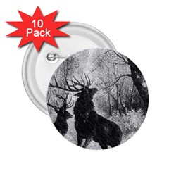 Stag Deer Forest Winter Christmas 2 25  Buttons (10 Pack)