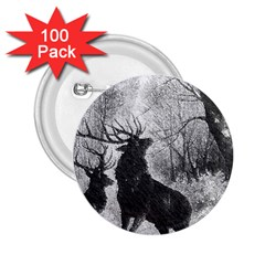 Stag Deer Forest Winter Christmas 2.25  Buttons (100 pack)