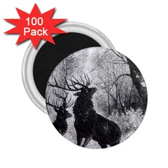 Stag Deer Forest Winter Christmas 2 25  Magnets (100 Pack)