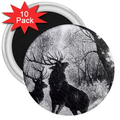 Stag Deer Forest Winter Christmas 3  Magnets (10 Pack)