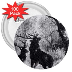 Stag Deer Forest Winter Christmas 3  Buttons (100 Pack)