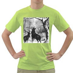 Stag Deer Forest Winter Christmas Green T-Shirt