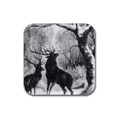 Stag Deer Forest Winter Christmas Rubber Coaster (Square)
