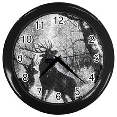 Stag Deer Forest Winter Christmas Wall Clocks (black)