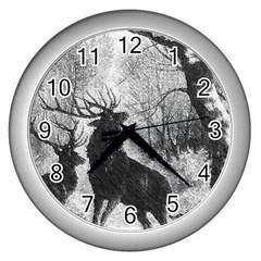 Stag Deer Forest Winter Christmas Wall Clocks (silver)