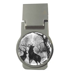 Stag Deer Forest Winter Christmas Money Clips (round)