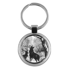 Stag Deer Forest Winter Christmas Key Chains (round)