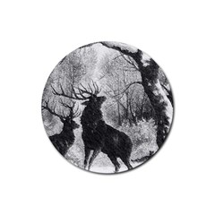 Stag Deer Forest Winter Christmas Rubber Round Coaster (4 pack)