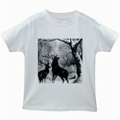 Stag Deer Forest Winter Christmas Kids White T-Shirts