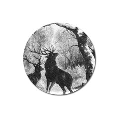 Stag Deer Forest Winter Christmas Magnet 3  (Round)