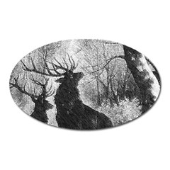 Stag Deer Forest Winter Christmas Oval Magnet