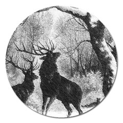 Stag Deer Forest Winter Christmas Magnet 5  (Round)