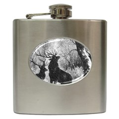 Stag Deer Forest Winter Christmas Hip Flask (6 Oz)