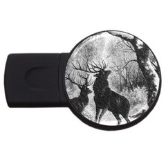 Stag Deer Forest Winter Christmas USB Flash Drive Round (1 GB)