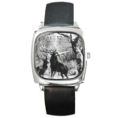 Stag Deer Forest Winter Christmas Square Metal Watch