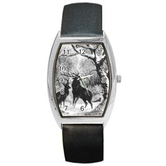Stag Deer Forest Winter Christmas Barrel Style Metal Watch