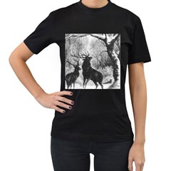 Stag Deer Forest Winter Christmas Women s T Shirt (black) (two Sided)