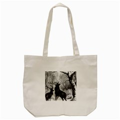 Stag Deer Forest Winter Christmas Tote Bag (cream)