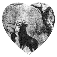 Stag Deer Forest Winter Christmas Jigsaw Puzzle (heart)