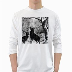 Stag Deer Forest Winter Christmas White Long Sleeve T-Shirts