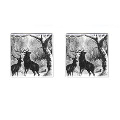 Stag Deer Forest Winter Christmas Cufflinks (Square)