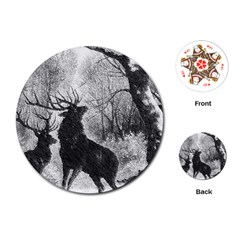 Stag Deer Forest Winter Christmas Playing Cards (round)