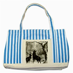 Stag Deer Forest Winter Christmas Striped Blue Tote Bag
