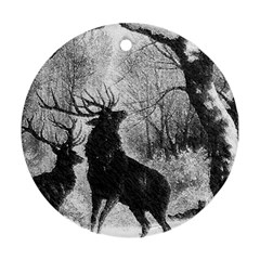 Stag Deer Forest Winter Christmas Round Ornament (two Sides)