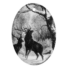 Stag Deer Forest Winter Christmas Oval Ornament (two Sides)