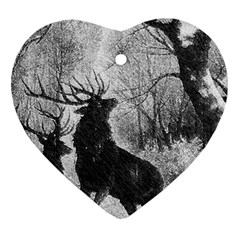Stag Deer Forest Winter Christmas Heart Ornament (two Sides)