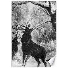 Stag Deer Forest Winter Christmas Canvas 12  X 18
